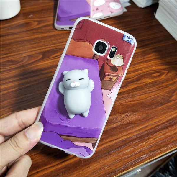 3D Squishy Grey Cat Phone Case for SAMSUNG, HUAWEI, LENOVO