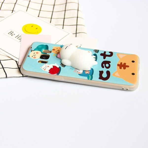 3D Cute Squishy Cat Phone Cases for SAMSUNG, HUAWEI, LENOVO