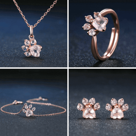 Kitty Paws Rose Gold Ring, Earrings, Necklace, Bracelet