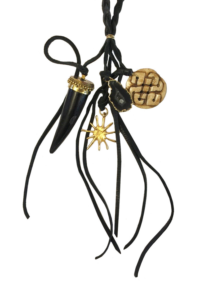 Bohemian Black Leather & Horn Pendant Cluster Necklace