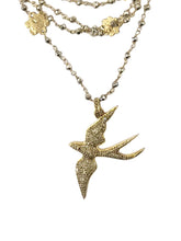Pave Diamond Bird Multi Strand Necklace
