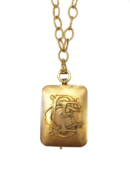Custom Gold Initial Locket Necklace