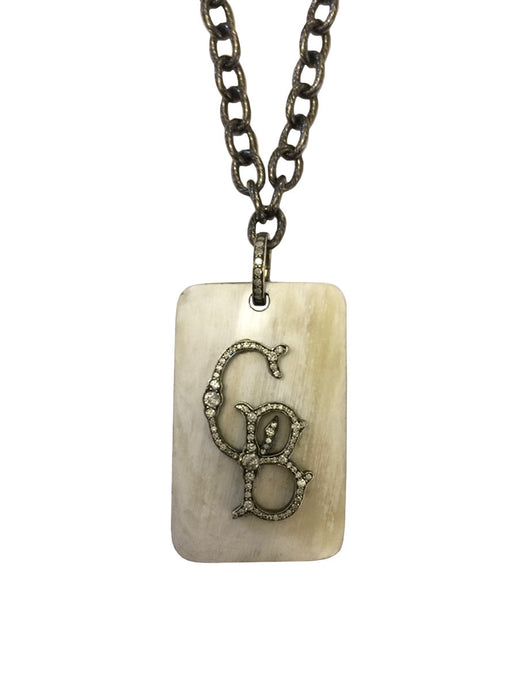 Custom Bone & Diamond Initial Pendant Necklace