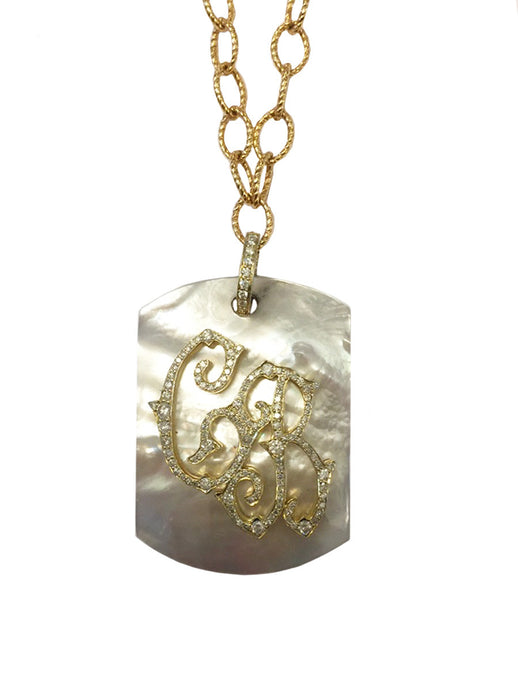 Custom Mother of Pearl & Diamond Pendant Necklace