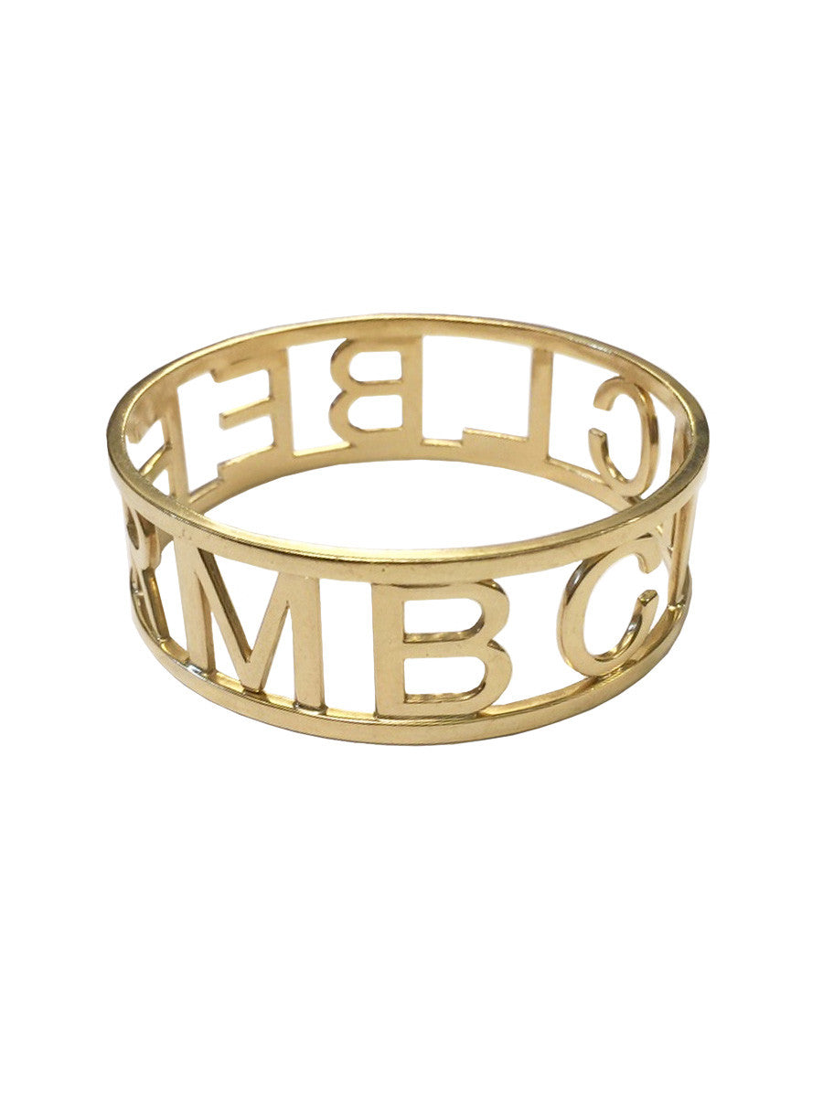18K Gold Custom Initial Bangle