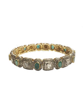 22K Gold & Diamond and Emerald Bangle Bracelet