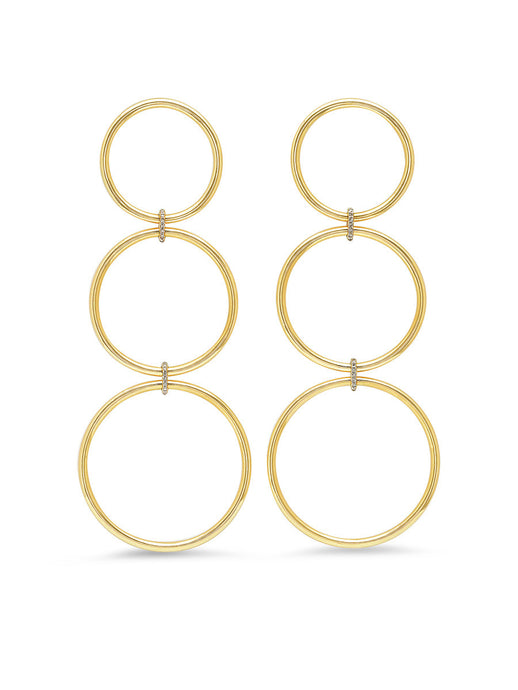 Large Triple Loop Gold & Diamond Earrings