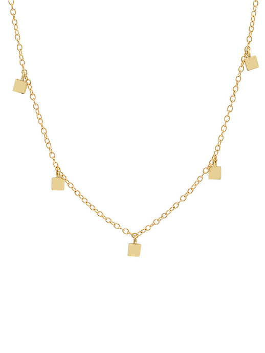 14K Gold Mini Square Charm Necklace