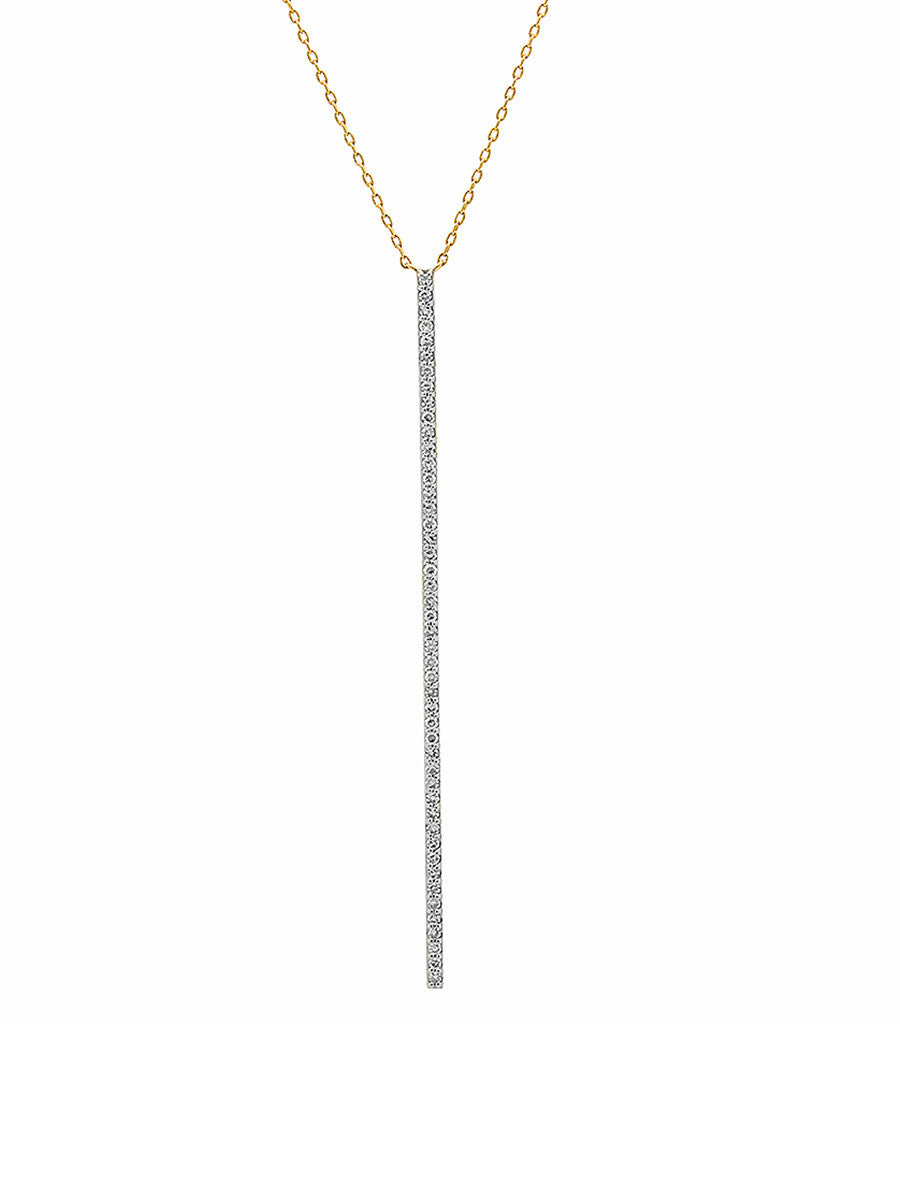 14K Gold Long Diamond Bar Necklace