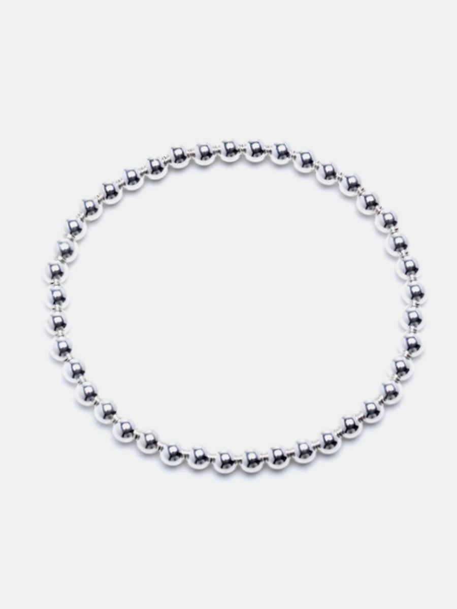 Medium 4mm Sterling Silver Bead Bracelet