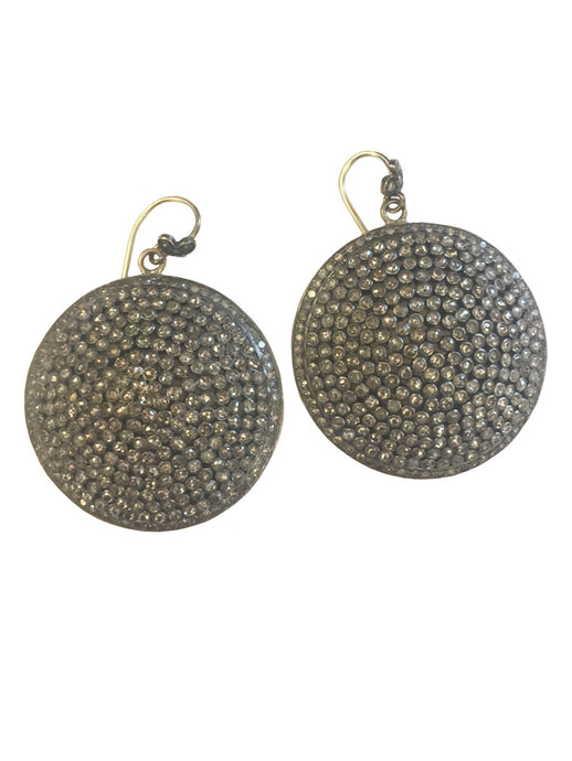 Large Round Pave Black Diamond Disc Earrings