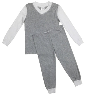 Grey/White V-Neck L/S Set