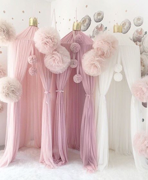 White Canopy with Gold Crown & Poms