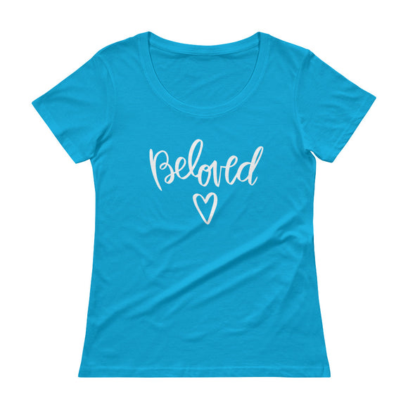 Original beloved Christian tshirt design, hand-lettered, illustrated tee by Angelica Suarez.