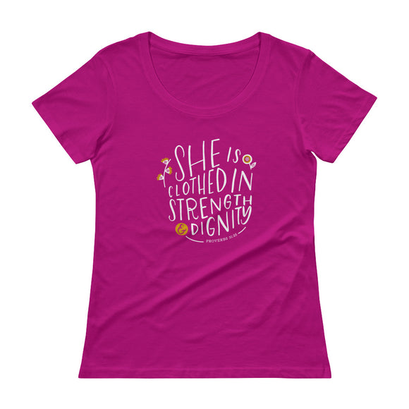 Original ladies Christian tshirt design, hand-lettered, illustrated tee by Angelica Suarez.