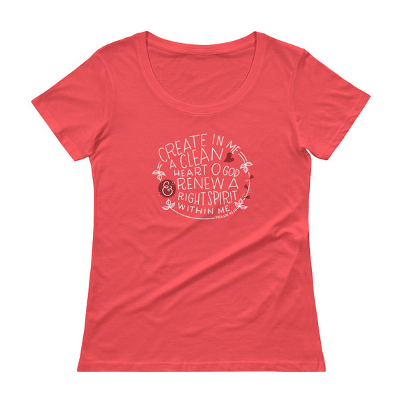 Psalm 51:10 - Ladies' Scoopneck T-Shirt