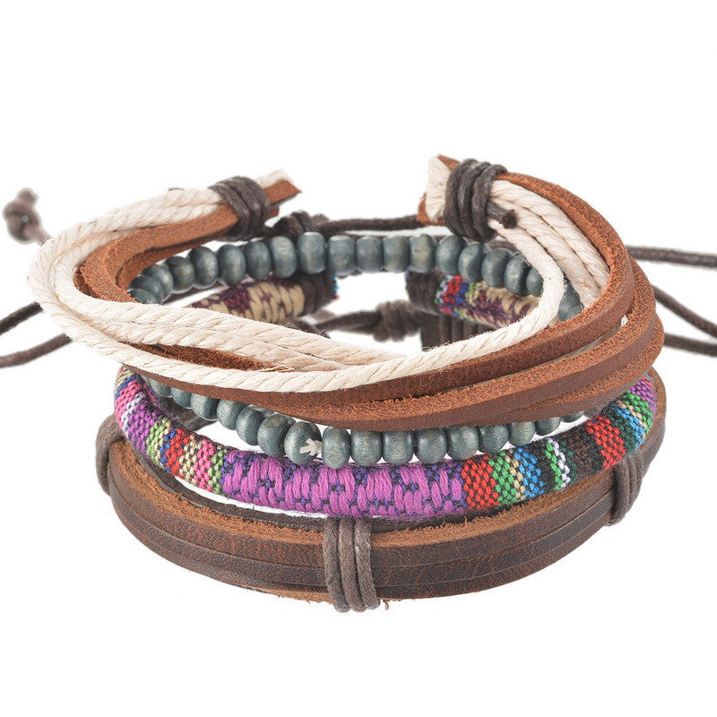 Braided Adjustable Leather  Bracelet