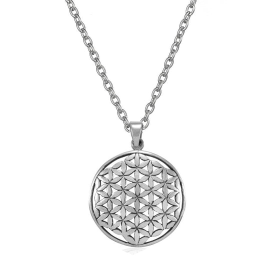 Silver Tone Flower of Life Pendant Necklace