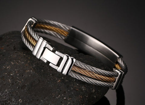 Gold  Stainless Steel Mens  Cross Bracelet