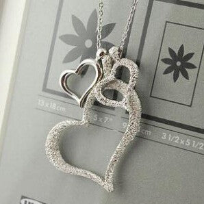 frosted love three heart necklace