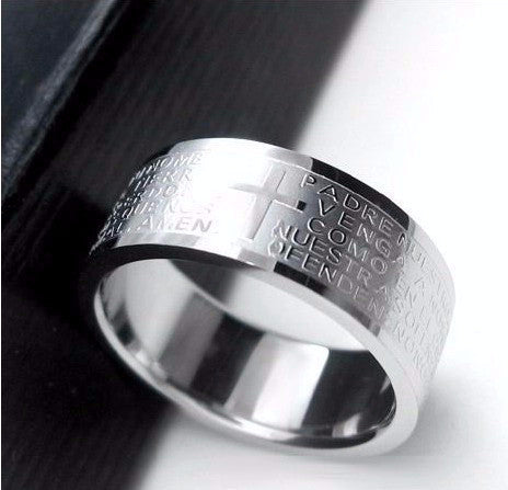 Stainless Steel Bible Lord's Prayer Cross Rings