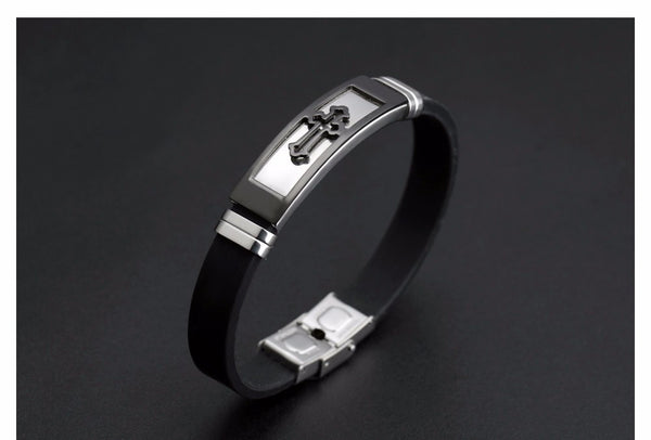 Fate Love Silicone Stainless Steel Cross Bracelet