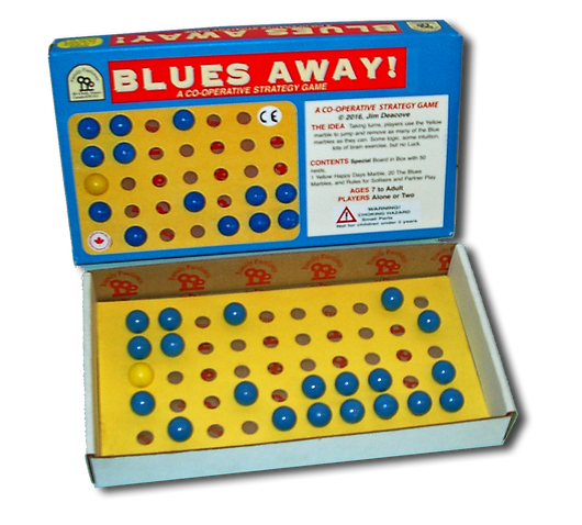 Blues Away Game Board and Box Displayed