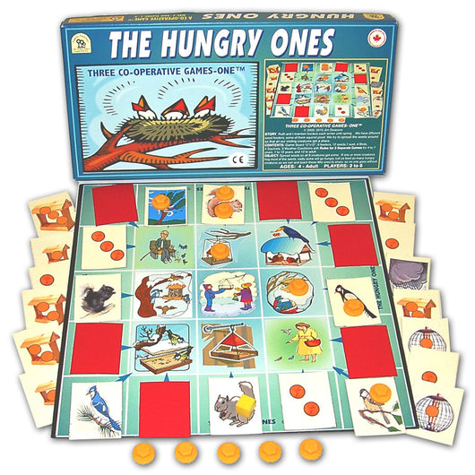The Hungry Ones Game Box, Board and Pieces Displayed in Play