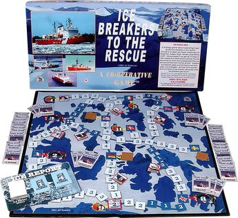 Ice Breakers to the Rescue Game Box, Board and Pieces Displayed as in Play