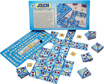 JSCH Box and Game Board and Peices Arranged in Play