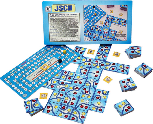 JSCH Box and Game Board and Pieces Arranged in Play