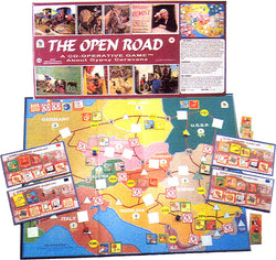 The Open Road Game, Box, Board and Pieces arranged and displayed at Play