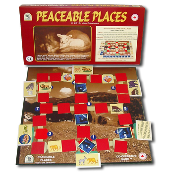 Peaceable Places Game Box, Board and Pieces set up to Play