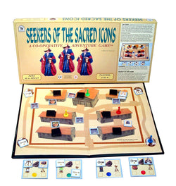 Seekers of the Sacred Icons Game Displayed with Board, Box, Cards and Tokens