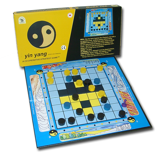 Yin Yang Game Board, Box and Pieces Displayed as Mid-Game Play
