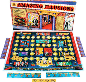 Amazing Illusions Game Board, Box and Pieces Displayed in Play