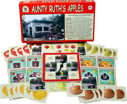 Aunty Ruth's Apples Game Box, Spinner and Cards Displayed