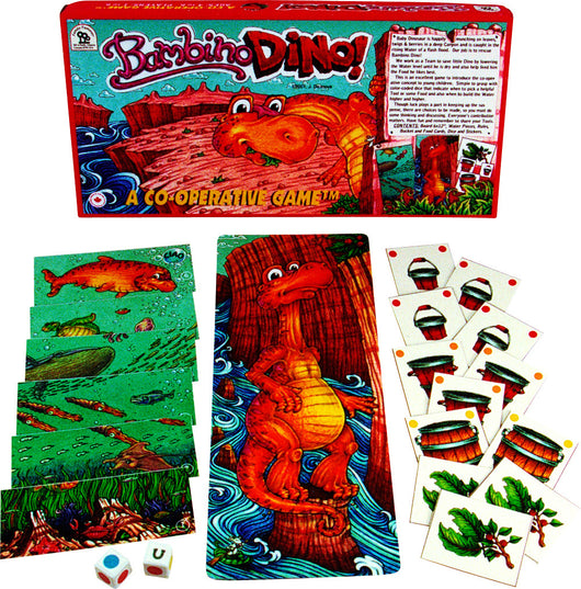 Bambino Dino Game Boards, Box and Cards Displayed