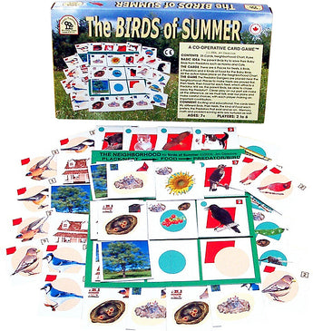 The Birds of Summer Game Box and Cards displayed