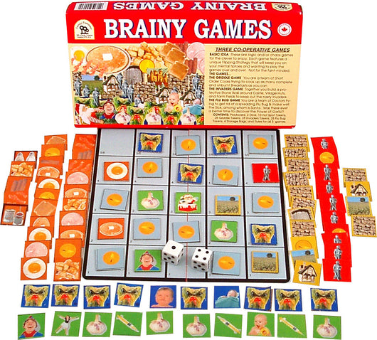 Brainy Games Displayed with Board, Box, Cards and Pieces
