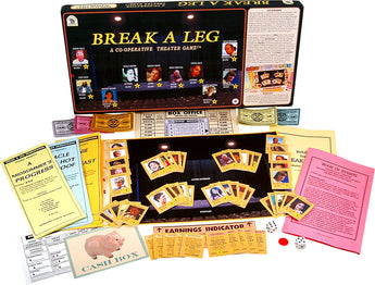 Break A Leg Game Box, Board, Cards, Rules and Pieces Displayed