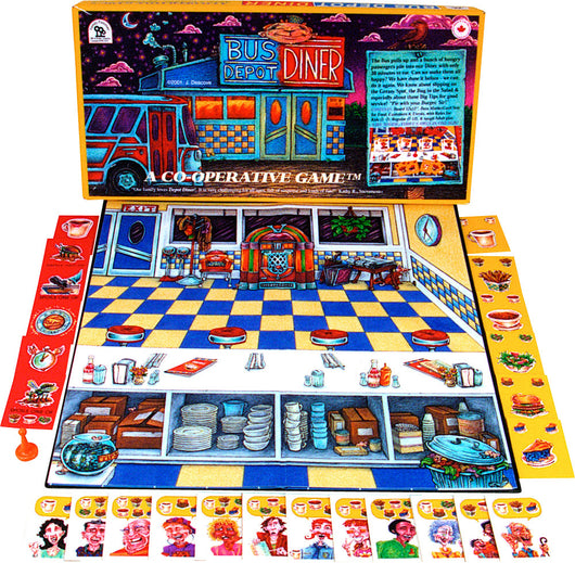 Bus Depot Diner Game Box, Board and Pieces Displayed