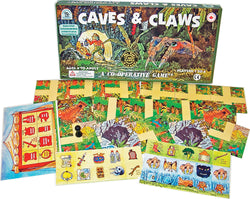 Caves & Claws Game Box, Tiles, Cards and Pieces Displayed