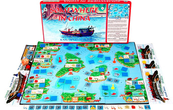 Somewhere In China Board Game with Box, Board and Pieces Displayed