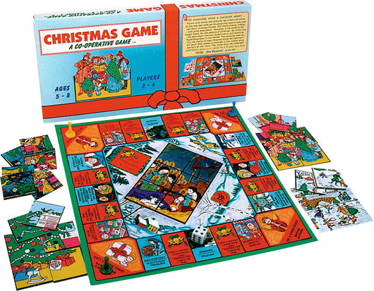 Christmas Game Box, Board and Pieces Displaye in Play