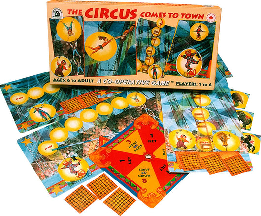 The Circus Comes to Town Game Box, Cards and Pieces Displayed