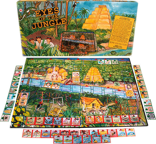 Eyes of the Jungle Game Box, Board and Pieces Displayed as in Play