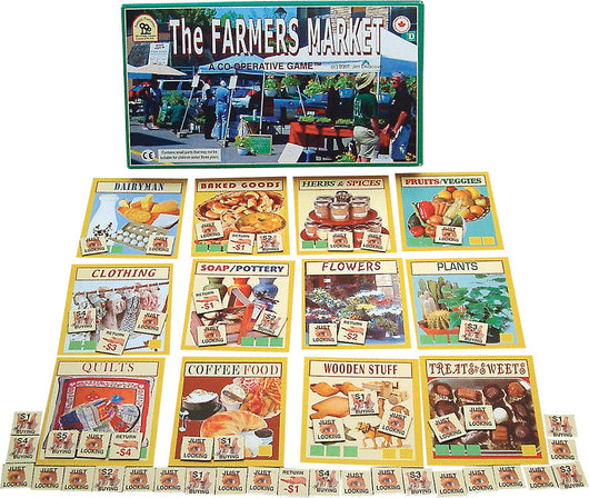 The Farmers Market Game Box, Board and Pieces Displayed as in Play