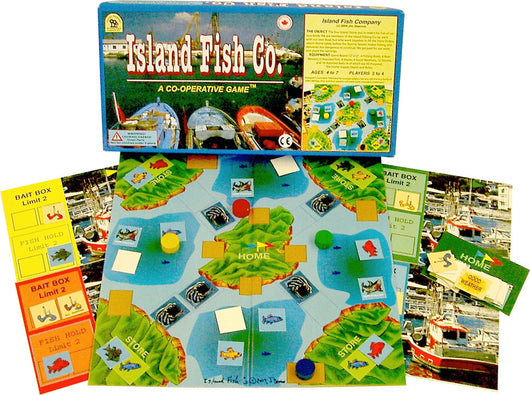 Island Fish Co. Game Box, Board and Pieces Displayed as in Play