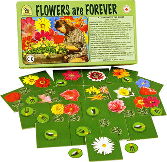 Flowers are Forever Game Box, Board and Pieces Displayed as in Play